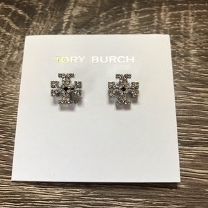 NWOT Tory Burch Crystal Logo Stud In Silver